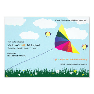 Kite Flying -Kids birthday invitations