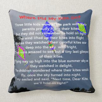 "Kite Flying Poem Sweet Childhood Memories 20""x20"" Cushion"