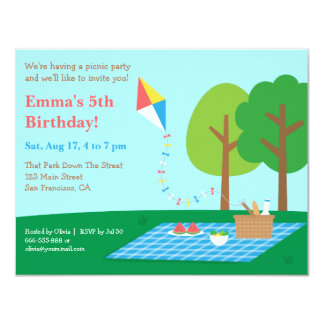 Kite Park Picnic Birthday Party Invitations