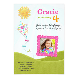 Kite Picnic Birthday Party Invitation