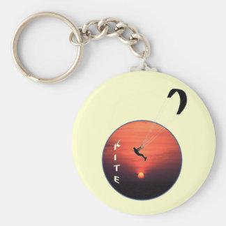 Kite-Surfing on Sunset Background Key Ring
