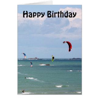Kite Surfing Race Happy Birthday Card