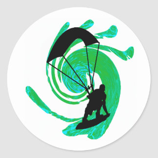 KITEBOARD ON TEAL CLASSIC ROUND STICKER