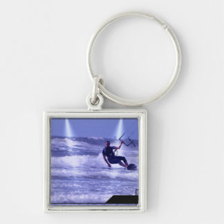 Kiteboarding Design Silver-Colored Square Key Ring