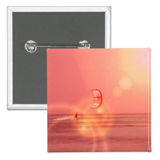 Kiteboarding Sunset Button