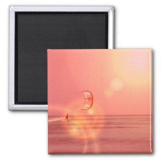 Kiteboarding Sunset Magne Square Magnet