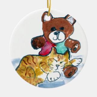 Kiten's Teddy Bear Nap Ceramic Ornament