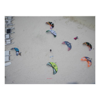 Kites from high (kitesurf kiteboard kiteboarding) poster