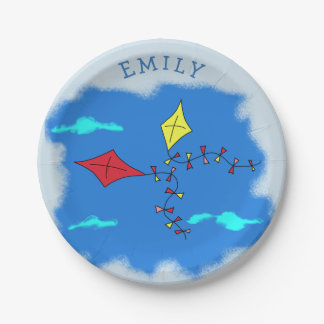 Kites in the Blue Sky Name Paper Plate