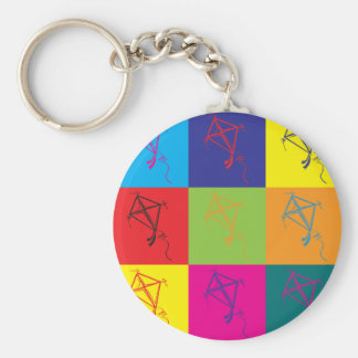 Kites Pop Art Basic Round Button Key Ring