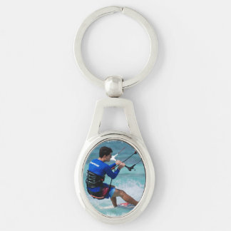 Kitesurf Silver-Colored Oval Key Ring