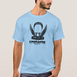 Kitesurfing pen ink drawing art t-shirt
