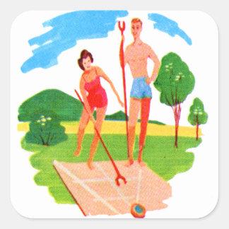 Kitsch 60s Vintage Resort Shuffleboard Couple Square Sticker