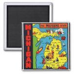 Kitsch Retro Vintage Michigan Decal Wolverine Square Magnet
