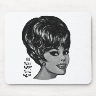 Kitsch Vintage '100% Human Wig' Ad Mouse Pad