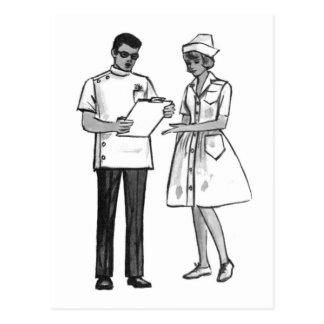 Kitsch Vintage 60's Doctor and Nurse Postcard