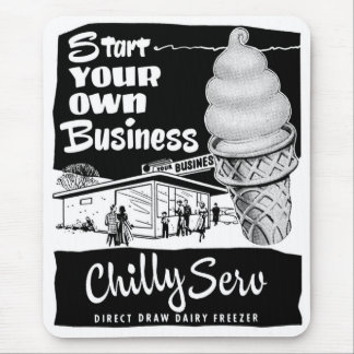 Kitsch Vintage Ad Chilly Serv Ice Cream Mouse Pad