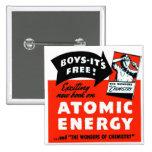 Kitsch Vintage Atomic Energy For Kids! Pinback Button