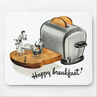 Kitsch Vintage Breakfast toast 'Happy Breakfast' Mouse Pad
