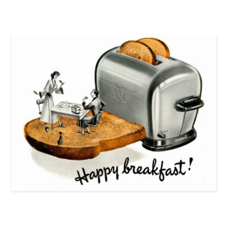 Kitsch Vintage Breakfast toast 'Happy Breakfast' Postcard