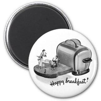 Kitsch Vintage Breakfast Toaster 'Happy Breakfast' 6 Cm Round Magnet