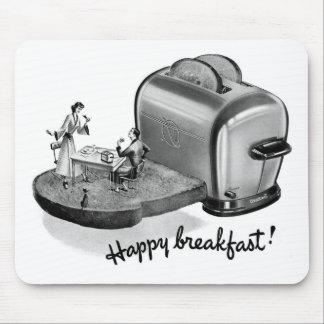 Kitsch Vintage Breakfast Toaster 'Happy Breakfast' Mouse Pad