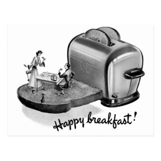 Kitsch Vintage Breakfast Toaster 'Happy Breakfast' Postcard