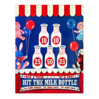 Kitsch Vintage Carnival Game Hit The Milk Bottle Postcard