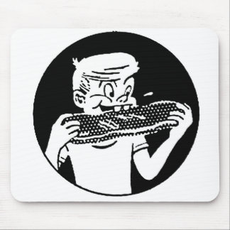 Kitsch Vintage 'Chomping Kid' Ribs BBQ Eating Mouse Pad
