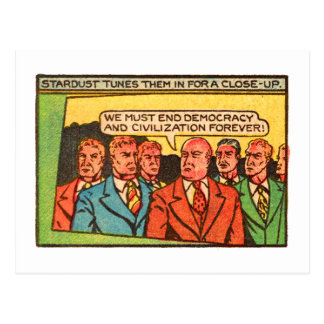 Kitsch Vintage Comic Bad Guys End Democracy Postcard
