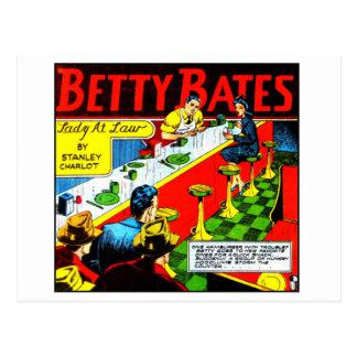 Kitsch Vintage Comic Betty Bates Lady at Law Postcard