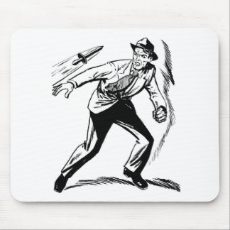 Kitsch Vintage Comic Detective Dodging the Dagger Mouse Pad