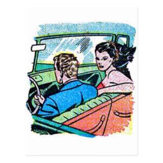 Kitsch Vintage Comic Road Trip Romance Postcard
