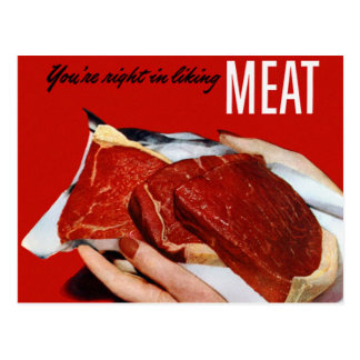 Kitsch Vintage Food 'Your Right in Liking Meat' Postcard