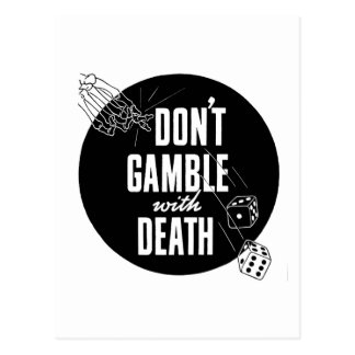Kitsch Vintage Gambling Don't Gamble With Death Postcard