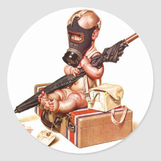 Kitsch Vintage Gas Mask War Baby Classic Round Sticker