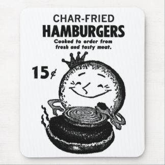 Kitsch Vintage Hamburgers 'Char-Fried' Mouse Pad