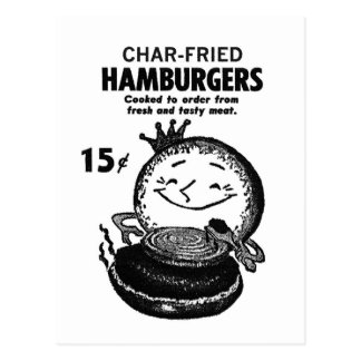 Kitsch Vintage Hamburgers 'Char-Fried' Postcard
