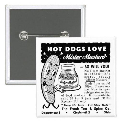 Kitsch Vintage Hot Dog Love Ad Art 15 Cm Square Badge