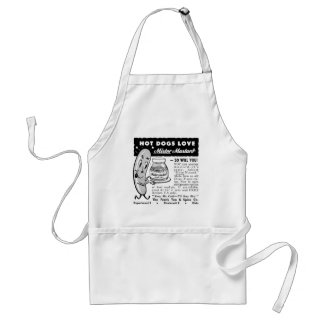 Kitsch Vintage Hot Dog Love Ad Art Aprons