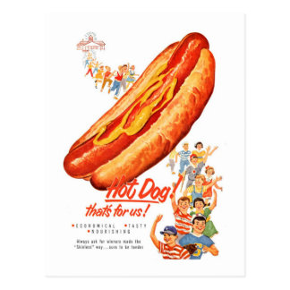 Kitsch Vintage Hot Dogs for Us! Postcard