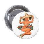Kitsch Vintage 'Hot Salsa' Pin-Up Girl 6 Cm Round Badge