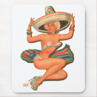 Kitsch Vintage 'Hot Salsa' Pin-Up Girl Mouse Pad