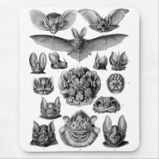 Kitsch Vintage Illustration Crazy Bats Mouse Pad