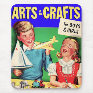 Kitsch Vintage Kid's 'Arts & Crafts' Book Mouse Pad