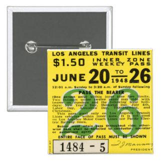 Kitsch Vintage L.A. Transit Ticket 15 Cm Square Badge