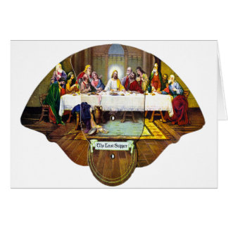 Kitsch Vintage Last Supper Di Vinci Advert Fan Greeting Card