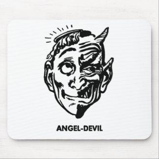 Kitsch Vintage Monster Angel and Devil Man Mouse Pad