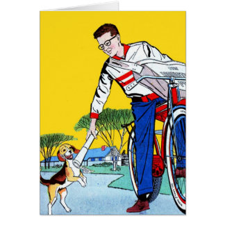 Kitsch Vintage Paper Boy & Dog Card