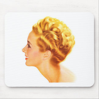 Kitsch Vintage Pin-Up Girl Classic Profile Mouse Pad